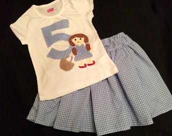 Wizard of Oz Dorothy inspired outfit- cusomize with birthday number or initial or just Dorothy on the shirt front