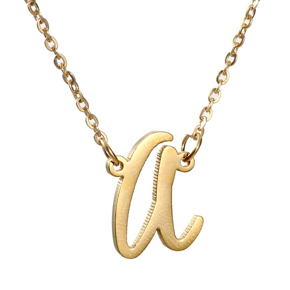 initial necklace personalized cursive script by aclasssupply