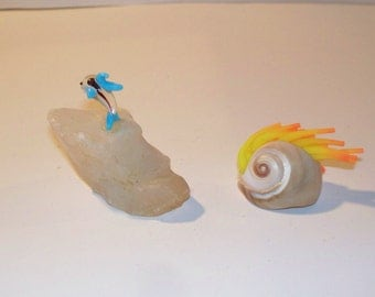 White Quartz And Sea Shell Art Pieces - Terrarium Supplies.