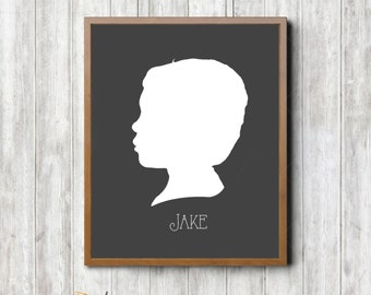 Child Silhouette Print in Frame with Matting