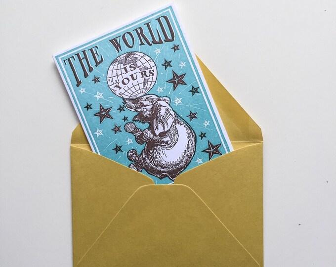 NEW! letterpress card Elephant Birthday TEAL