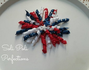 4th of July Korker Hair Bow, 4th of July Bow, Red White Blue Bow, Hair Bow