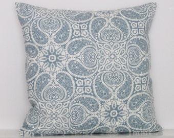 Blue Pillow Cover, Decorative Throw Pillow, 18x18 Pillow, Zipper