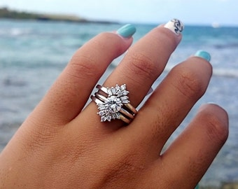 Sunburst Solitaire Wedding Ring Guard - Sterling Silver Ring Enhancer with .42ct Cubic Zirconia