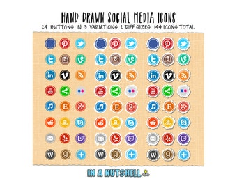 Social Media Icons - Hand Drawn - Social Media Buttons - Circles - Instant Download