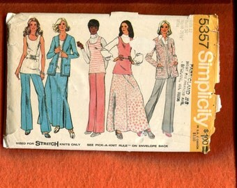 1970's Simplicity 5357 Easy Fitting Retro 70's Wardrobe Pattern Size 12