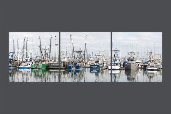Set of 3 unmatted, unframed Photo Fine Art Prints. Gift for Fishermen. Westport Harbor. Washington. Fishing Boats. Deep Sea Fishing Vessels.
