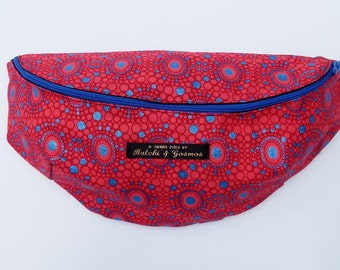 Butchi & Gosmos 'Disco Dash' Bumbag / Fanny pack / Hip bag in Bright Red with Shimmering Blue print detail