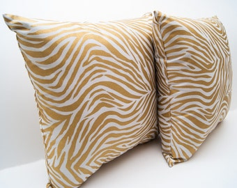 Throw Pillow - Metallic Zebra Print Throw Pillow  - Accent Pillow - Decorative Pillow - Animal Pillow - Handmade Pillow - Sofa Pillow