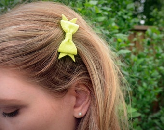 Little Lime Green Wool Felt Hair Bow