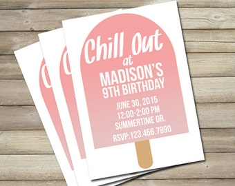 Popsicle Birthday Party Invitation