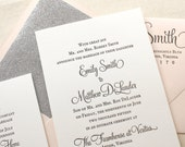 The Hydrangea Suite - Black, Blush Pink and Silver Glitter Sample - Classic Letterpress Wedding Invitation, Formal, Traditional, Romantic