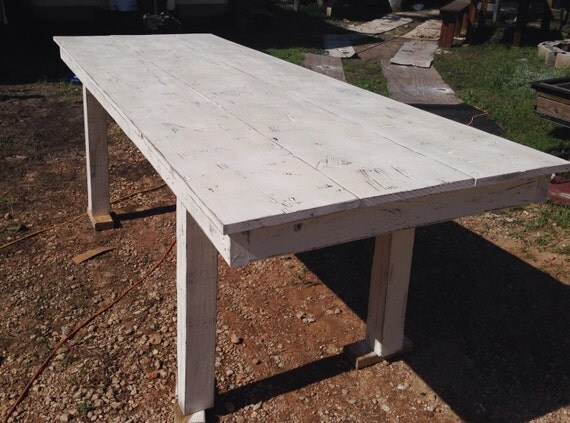 Farmhouse table 8ft long Whitewashed by ShopSweetlySalvaged