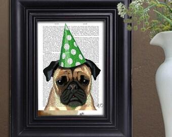 Pug art print - pug Party Hat - pug print pug décor pug illustration pug love funny pug print Pug nursery pug poster pug wall art pug lover