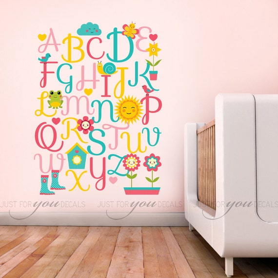 Alphabet nursery wall decal children room wall decal for Wall letters kids room