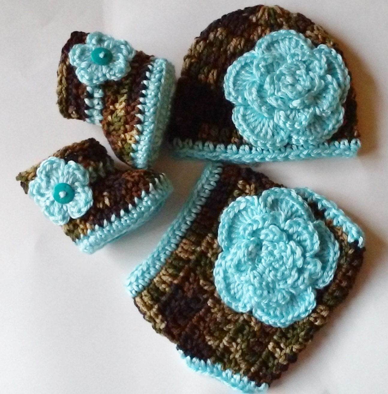 Crochet Camo Diaper Cover Set Turquoise by TheShimmeringRose