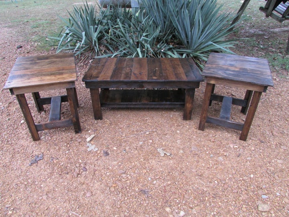 3 piece coffee table end table set rustic solid by for Rustic coffee table and end table set