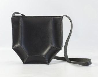 Hexagon Shoulder Bag - Black Leather Bag - Geometric Bag
