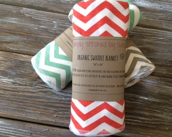 """ORGANIC SWADDLE BLANKET ~ 34""""x34"""" ~ Light Weight//Knit//Baby//Swaddle//Travel//Neutral//Serged"""