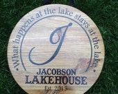 Rustic What Happens at the Lake Stays at the Lake Family Door Sign ~ Custom Family Established Sign ~ Lake House Door Decor