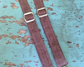 Brown Linen Suspenders