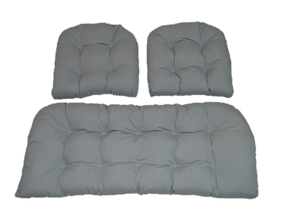 Solid Dove Gray / Grey Cushions For Wicker Loveseat Settee & 2
