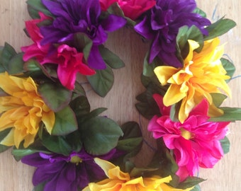 Summer Faerie Crown, Flower Crown, Flower Headband, Music festival - Purple, Pink, Yellow Flowers