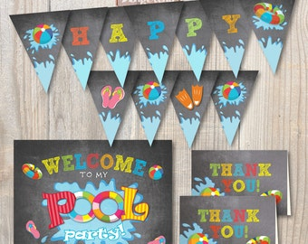 Instant Download Pool Party Birthday Chalkboard Invitation Pack. DIY. Digital Printable