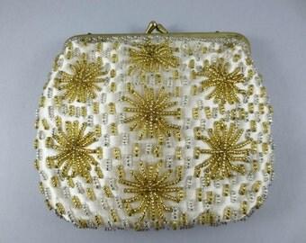 Vintage Beaded Handbag,Silver and Gold Beaded Purse,Gold Star Evening Bag,Silver and Gold Coin Purse,Small Beaded Clutch,Beaded Satin Bag