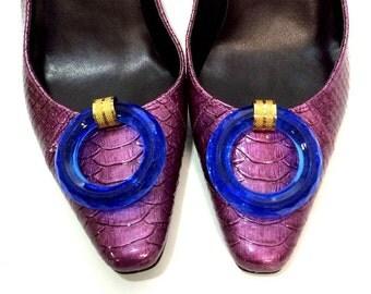 Vintage Shoe Clips - Cobalt Blue Acrylic Rings
