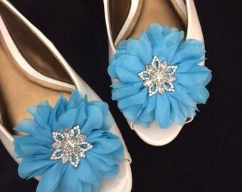 Rhinestone Shoe Clips Flowers - Turquoise Blue