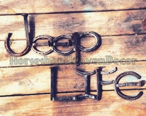 Jeep sign,Name signs, jeep accessories, Jeep lovers, Horseshoe and Railroad spike rustic name signs, Wall decorations, Mancave decor, love