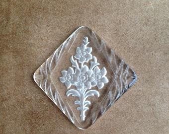 Vintage Glass Carved Floral Cabochon