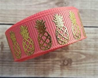 5/8 inch CORAL PINEAPPLE grosgrain ribbon