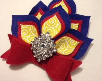 Wool felt dahlia hair clip
