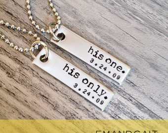 His One, His Only, Gay Couples Jewelry, LGBT Necklace Set, Wedding Gift, Engagement present