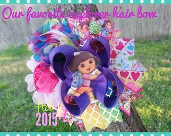 Boutique girls custom Dora Explorer girl back pack ott hairbow ftcb
