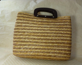Vintage Classic Large Woven Wheat Straw Divided Bag, Tote, Purse, Hand Bag with Wood Cut Out Handles
