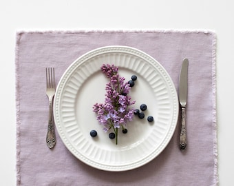 Pink Lavender Washed Linen Placemat with Fringes