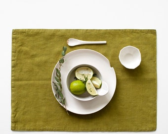 Moss Green Stone Washed Linen Placemat