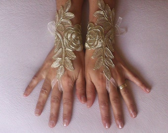 Gold Wedding gloves free ship bridal gloves  fingerless lace  gloves french lace burlesque gloves gauntlets guantes