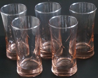 FREE SHIPPING, Vintage, Set of Five Pink Swirl Glasses