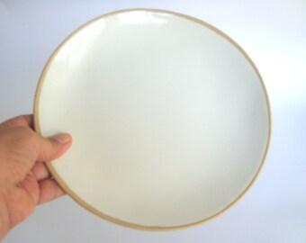 """10""""  White Ceramic  Plate, Stoneware Plate,  White pottery dinnerware plate, Ceramic Dinner Plate , Handmade Ceramic Plate"""