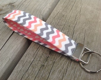 Coral, Gray, and White Waves Key Fob Wristlet