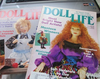 K Vintage  2 back issues of Doll Life  magazine March  1991 and 1992 used
