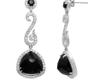 Statement Black and White CZ Drop Earrings