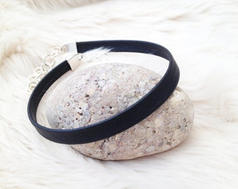 Black Eco Nappa faux Leather plain choker. Black choker. Black jewellery. Plain choker