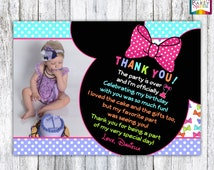 PRINTABLE Minnie Mouse Bowtique Birthday Photo Thank You Card - Personalized Digital 4x6 or 5x7 jpg or pdf