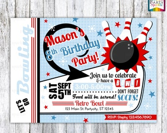 Retro Bowling - Red and Blue Birthday Invitation - Personalized Digital Custom Party Photo Invitation 4x6 or 5x7 jpg or pdf