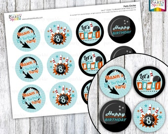 "Retro Bowling - Teal and Orange Birthday  Party  2"" Party Circles - Cupcake Toppers - Personalized - Digital pdf file"